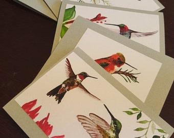 Hummingbird Mix Blank Art Note Cards Set Of Six