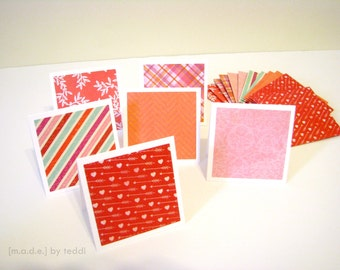 Mini Note Card Set (12 cards) - Red/Pink