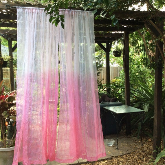 Pink Ombre Light Diffuse Sheer Curtains Set Of 2 By Artattackdiner