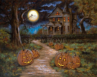 Halloween - Painting - Haunted house - Jack o Lanterns - Ghosts - 11 x 14
