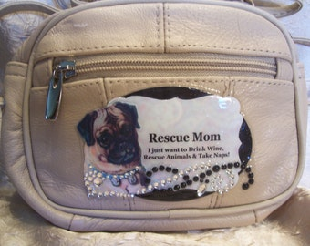 Beige Leather Crossbody Purse with a Vintage Pug  Rescue Mom