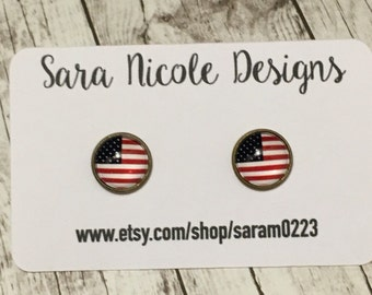 USA Flag earring set - america - merica - patriotic - liberty - 4th of July - Independence Day SALE