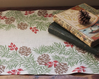 Pine boughs linen cloth table runner winter holiday christmas home decor natural history hand block printed