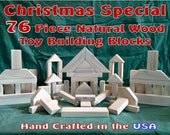 76 Classic Wood Building Blocks - Handcarfted Natural Wood Toy Blocks - LOWEST PRICE on ETSY - - - - Christmas Special- - - -