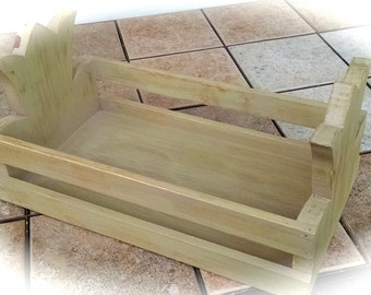 Wooden Flower Box / Garden Tool Box / What Not Catch All Holder / Up-Cycled Box / Distressed Handmade Box