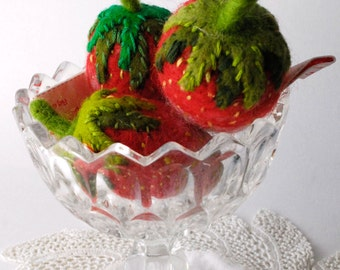 One Original Needle Felted Strawberry Pin Cushion Designed and handmade by Miss Bumbles