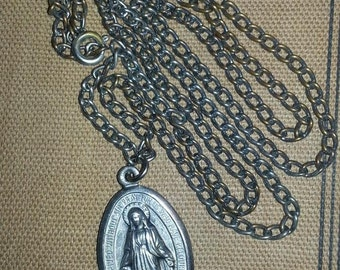 Vintage Silvertone  Miraculous Virgin Mary Metal Medal Pendant with Chain Catholic Pendant