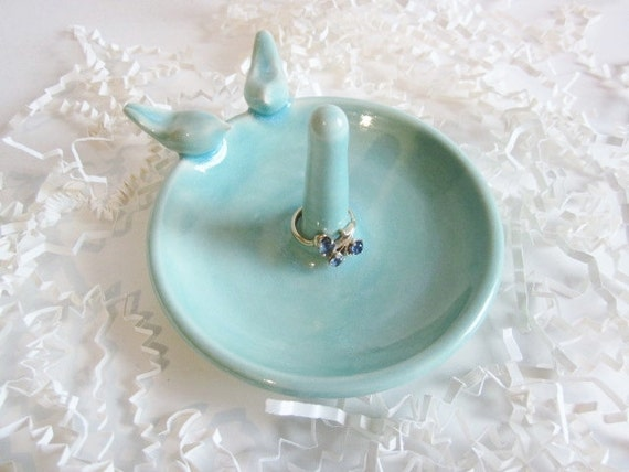 Ring holder, Bridal shower gift,  love  bird ring dish, engagement ring dish, wedding gift, In Stock