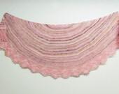 Pink Cherry Blossom Cashmere Hand knit handspun shawl, Cashmere, Silk, Merino, Pink, green, brown