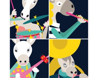 Set of 4 - music poster - equine art, music decor, Gift for Musician, Music Art, Musician Gift, mandolin, Sousaphone, drums, flute