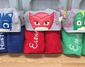 PJ Masks Hooded Towel ~ PJ Masks Birthday ~ Owlette Towel ~ Gecko Towel ~ Catboy Towel ~ Swim Lesson Towel ~ Beach Towel ~ Pool Towel