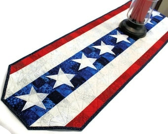 Patriotic Table Runner Quilt - Made to Order- Red, White and Blue Quilt, 4th of July, Independence Day