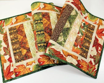 Fall Table Runner Quilt, Orange, Green, Brown Leaves with Gold Highlights, Quilted Table Runner, Autumn Quilt, Quiltsy Handmade