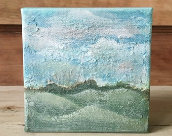 Mini Landscape Painting, Rolling Hills no.1, textured, 4x4 original acrylic on canvas