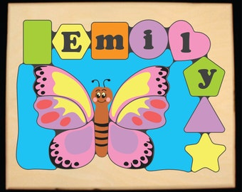 Personalized Name Butterfly Theme Puzzle..Customize Color...Teaching your preschool child or toddler their shapes & name is so educational!