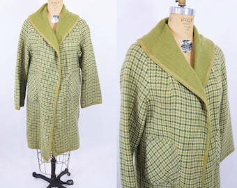 1960s coat vintage 60s green reversible houndstooth mod AS IS light open coat S