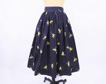 "1950s skirt vintage 50s black yellow dragonfly novelty print cotton skirt XS W 24"""