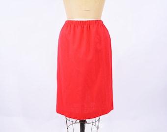 1980s skirt vintage 80s red elastic waist classic a line skirt S/M