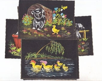 Set of 7 Vintage Cute Animal Illustrated Chalkboard Style Postcards West Germany  UNUSED