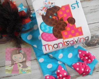 My First Thanksgiving Outfit, OTT Hair Bow and Leg Warmers Set, First Thanksgiving Turkey Outfit