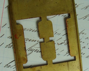 Antique  Steampunk Metal Letter H Stencil More Letters and Numbers Available
