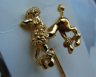 Vintage Rockabilly Scrumptious French Poodle Sweater Stick Pin on original card