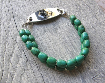 Two Strand Green Turquoise Medical ID Bracelet, Gemstone Alert Bracelet, Sterling Silver or Stainless Steel Clasp Replacement Bracelet