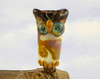 midnight sky eyed,  Owl bead for dreadlocks