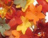 40 Lucite Flower Beads Acrylic Flower Beads Mini Daffodil Autumn Assortment
