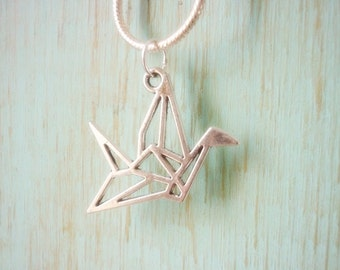 Origami Crane Pendant,Hope Healing,Geometric Crane Pendant,Silver Origami Crane