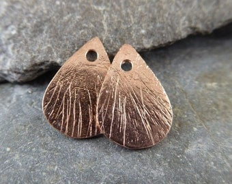 Brushed Rose Gold Vermeil Flat Teardrop Charms - Artisan Vermeil Findings