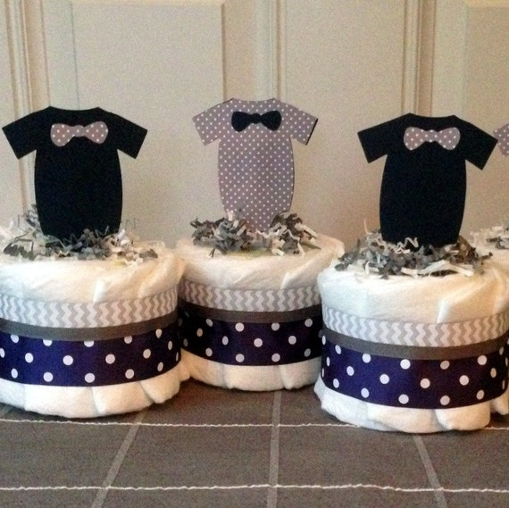 Items similar to little man mini baby diaper cakes in navy blue and gray table centerpiece - Ideeen deco kamer baby boy ...