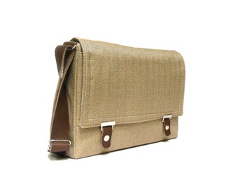 "Messenger bag for 12"" MacBook with leather strap - light brown herringbone"