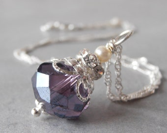 Purple Bridesmaid Necklace Beaded Crystal Pendant Purple Wedding Jewelry Sterling Silver Chain 16 18 and 20 Inch Length Bridesmaid Jewelry