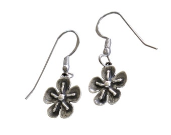 Flower Handmade Boho Earrings, Small Silver Dangle Earrings, Designer Women Earrings, Israel Jewelry, Oxidized Silver Retro Flower Earrings