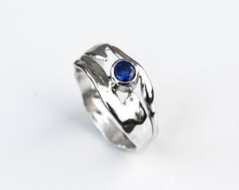 Sterling Silver Blue Sapphire Ring, Organic Silver Ring, Recycled Silver Gemstone Ring, Gift Idea, September Birthstone Ring, Elementisle