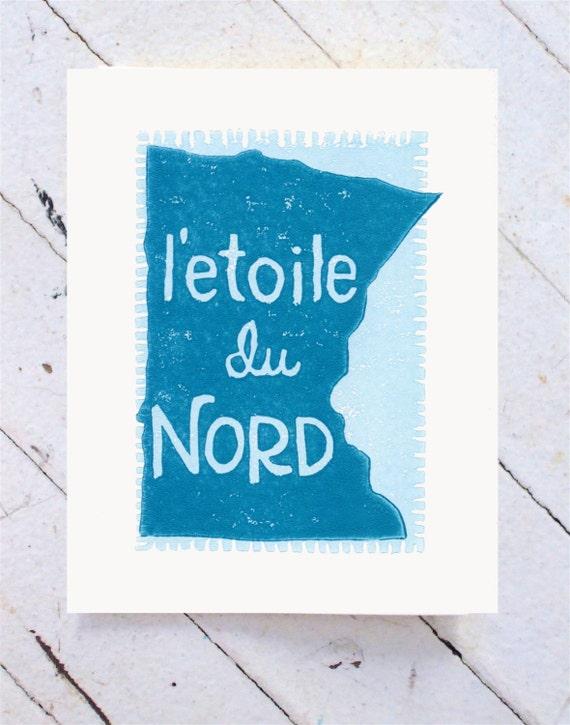 Minnesota Card Hand Printed in Aqua Blue