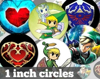 Legend of Zelda - 1 Inch Circles - 9 Unique Images - Digital Collage Sheet - Jewelry Supply, Cabochon, Bottle Caps - INSTANT DOWNLOAD