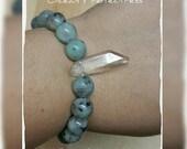 ON SALE Sesame Jasper Bracelet, Quartz Crystal, Gemstone Bracelet