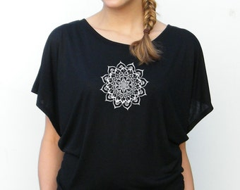 Womens Flowy Top - Mandala Design -  Lotus Top - Small, Medium, Large, xl, 2xl