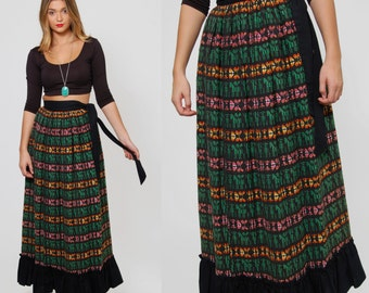 Vintage 70s GUATEMALAN Maxi Skirt ETHNIC Embroidered Maxi Skirt Mexican Style Skirt Rainbow Hippie Skirt