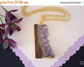SALE Amethyst Slice Crystal Pendant, Amethyst Necklace, Amethyst Slice, Gold Amethyst Slice, AMS146