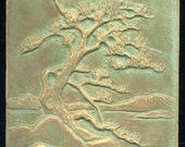 Twisted Japanese Pine Tree - Ceramic Tile in Muted Tan and Green Glaze - Craftsman Style Decorative Art Tile