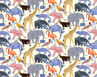 Liberty Tana Lawn Fabric Queue for the Zoo E Half Yard Elephant giraffe animals flamingo