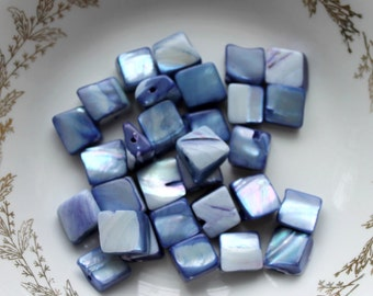 blue shell beads,10mm X 10mm,30 pieces,blue, blue beads,