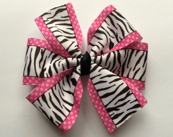 Zebra and Hot Pink Bow - Girl's Hair Bow