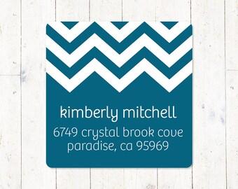 personalized return address LABEL - CHEVRON - sticker - square label -  set of 48 labels