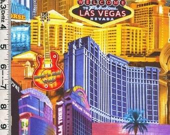 Fabric Benartex Kanvas Las Vegas City Buildings Signs Casinos Gambling Hotels bright colors collage out of print