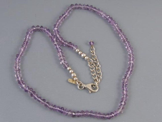 Modern estate fully adjustable faceted amethyst bead sterling silver necklace or wrap bracelet