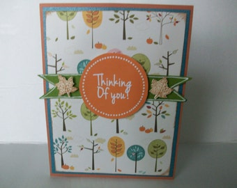 Thinking of You Card, Fall Leaves Card, Handmade Fall Card, Colorful Trees Card,Thoughts of You Card,